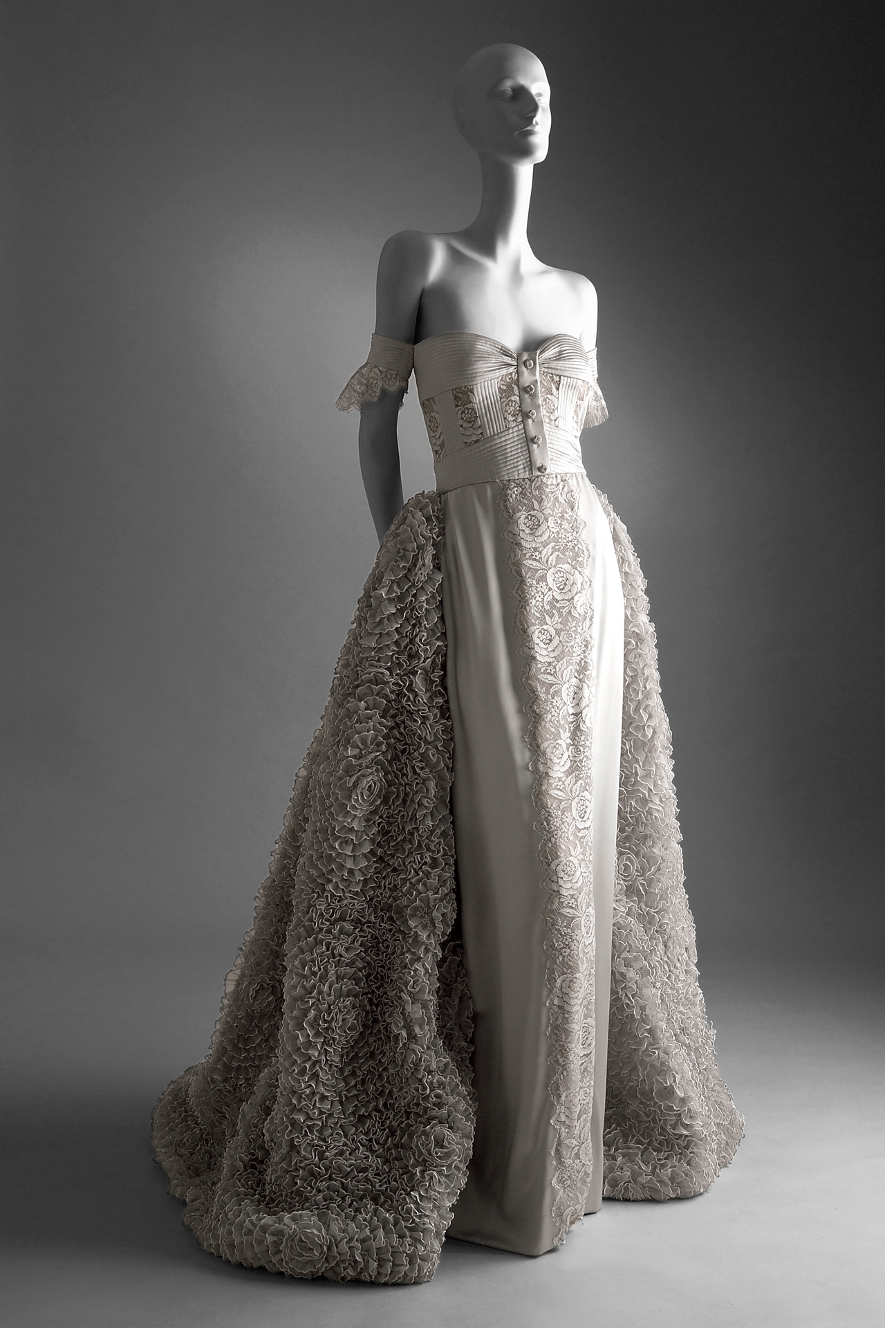 Spring summer 1995 haute couture romantic evening gown in silver ...